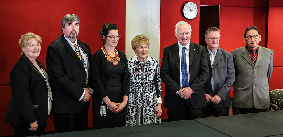 (Left to right) VP Health Services & CNE Heather Lee, VP Corporate Services & Performance / COO Dean Osmond, VP  Quality & Support Services Jennifer Lawrance, Mrs. Sharon Johnston, Governor General of Canada David Johnston, President & CEO Dave Murray, First Nations Advisor Douglas Semple.